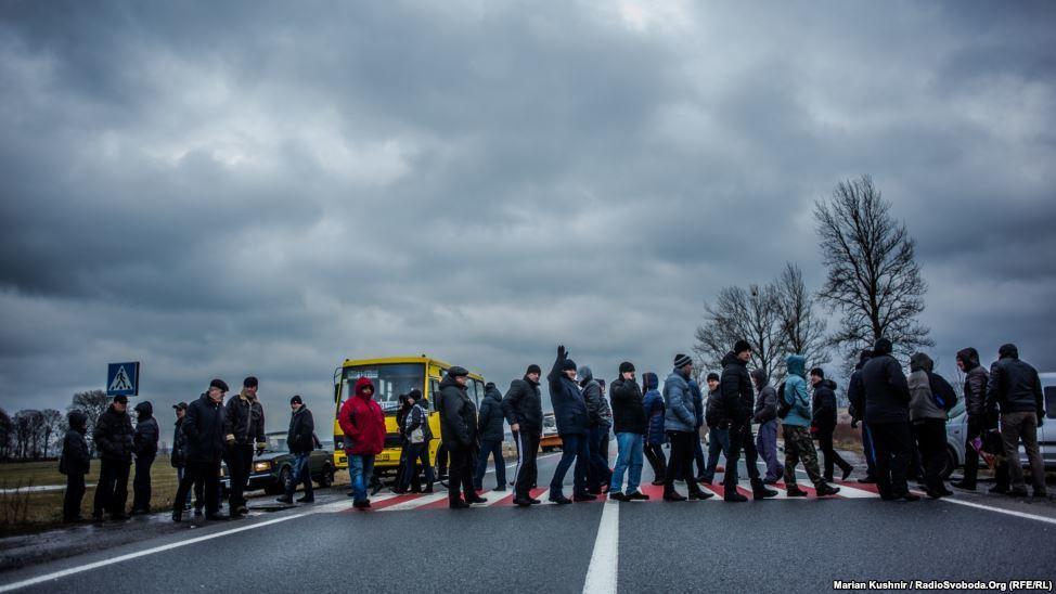 Chervonohrad Miners blockades the main highway at s
