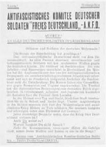 10 Η πρώτη σελίδα προκήρυξης της Αντιφασιστικής Επιτροπής Γερμανών Στρατιωτών