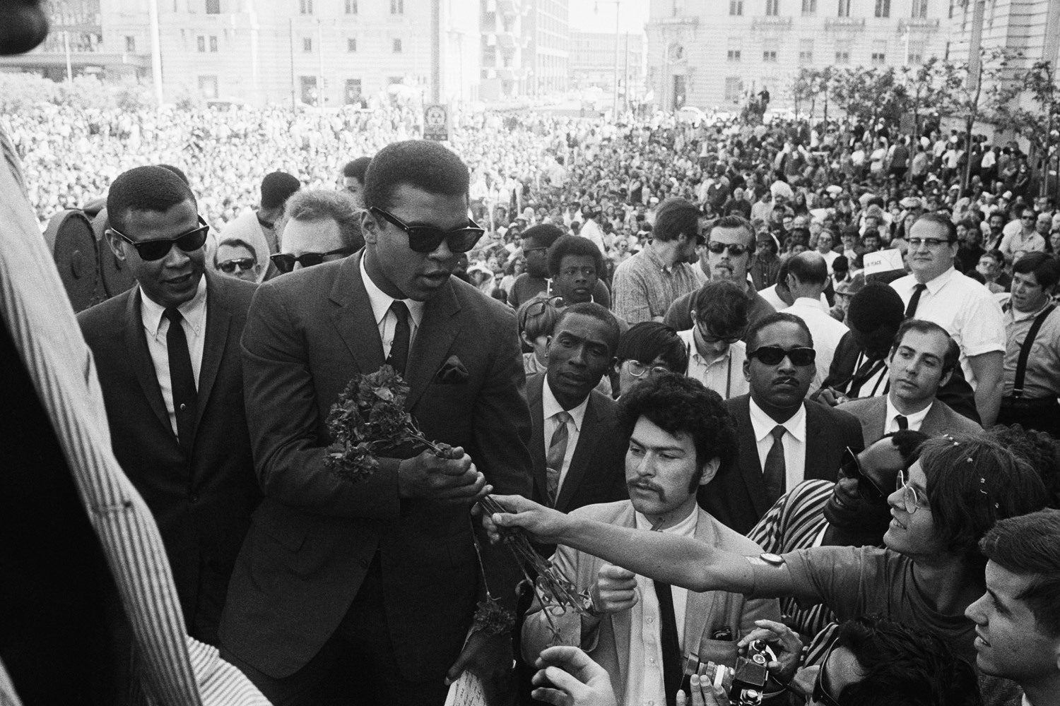 Muhammad Ali during a weeklong protest against the Vietnam War draft in San Francisco 1968