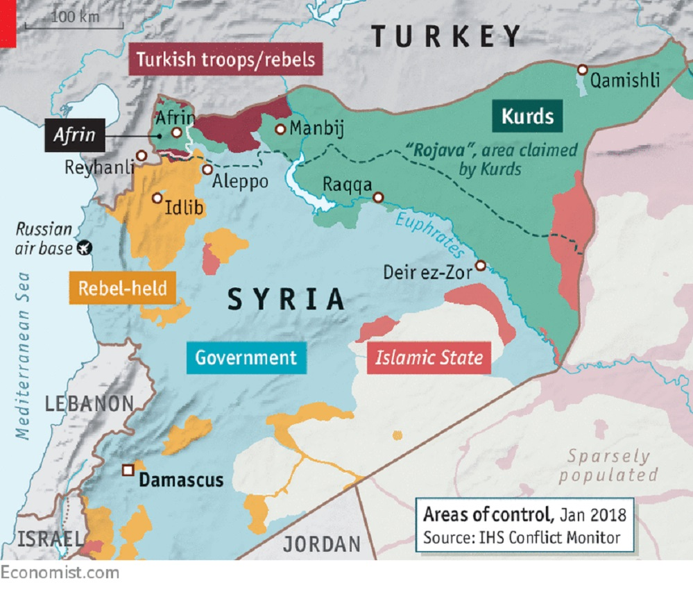 Χάρτης 2 Συρία ο έλεγχος των περιοχών